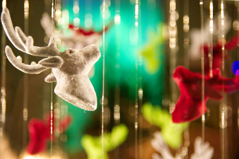 Deer Green Red Christmas Christmas Decoration Close-up Deerhead Focus On Foreground Hanging Indoors  No People Tinsel  Shades Of Winter