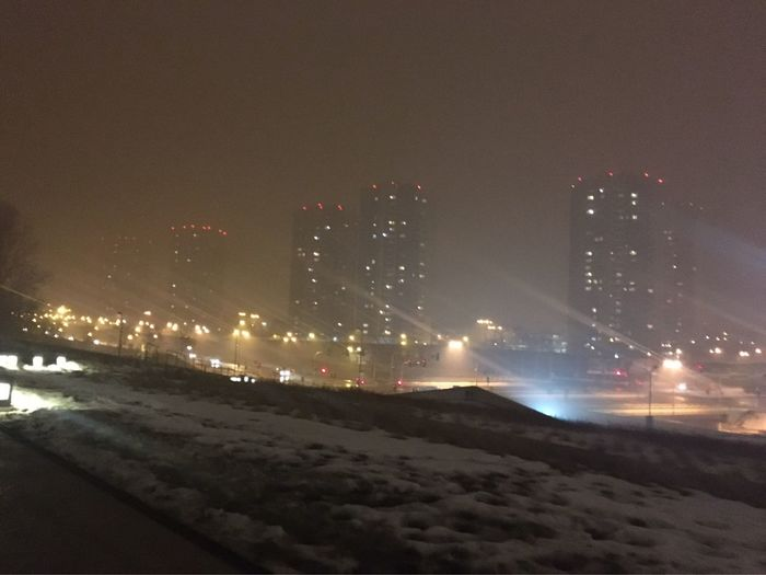 Smogcity Smog Night Illuminated City Architecture Building Exterior Winter Cold Temperature Sky No People Outdoors Cityscape Skyscraper Snow Water Nature Katowice Silesia