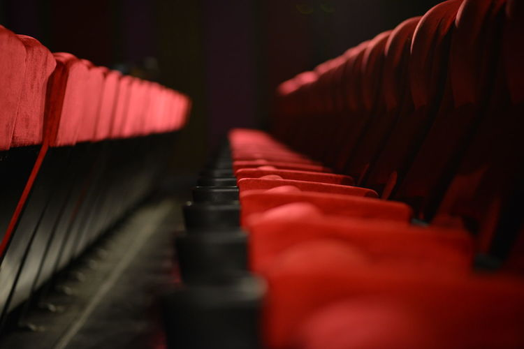 Close-up of empty seats in theater