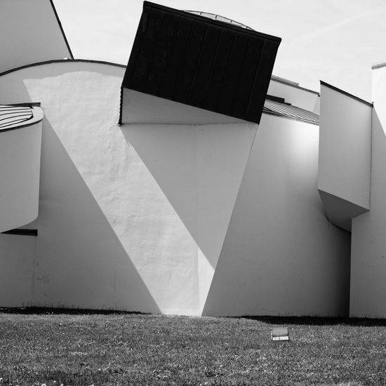 Architecture Architecture Blackandwhite Building Building Exterior Built Structure City Day Footpath Geometric Shape Low Angle View Modern Nature No People Office Outdoors Shadow Sky Sunlight Vitra Campus Wall Wall - Building Feature White Color The Architect - 2018 EyeEm Awards 17.62°