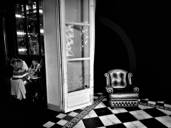 Ultrecht bar Checked Pattern Chair Bar Holland Ultrecht Indoors  Black And White Armchair TheWeekOnEyeEM The Week On EyeEm
