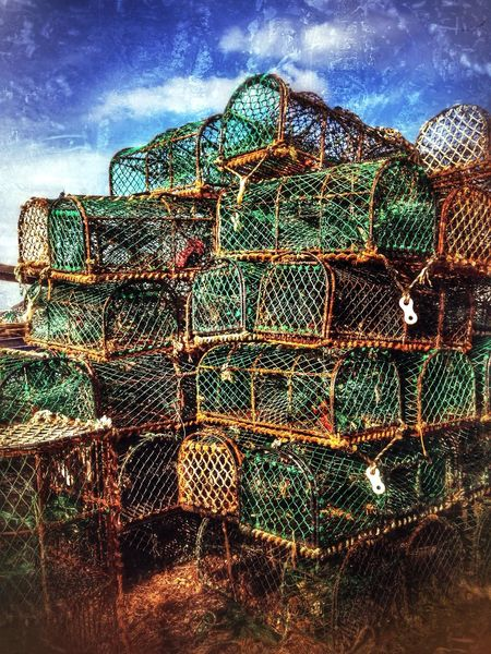 Crab pots, Brancaster Staithe, Norfolk, England. Basket Baskets Brancaster Staithe British Coastal Crab Pots England English Lobster Pots Norfolk Pot Sea Fishing Seaside Uk