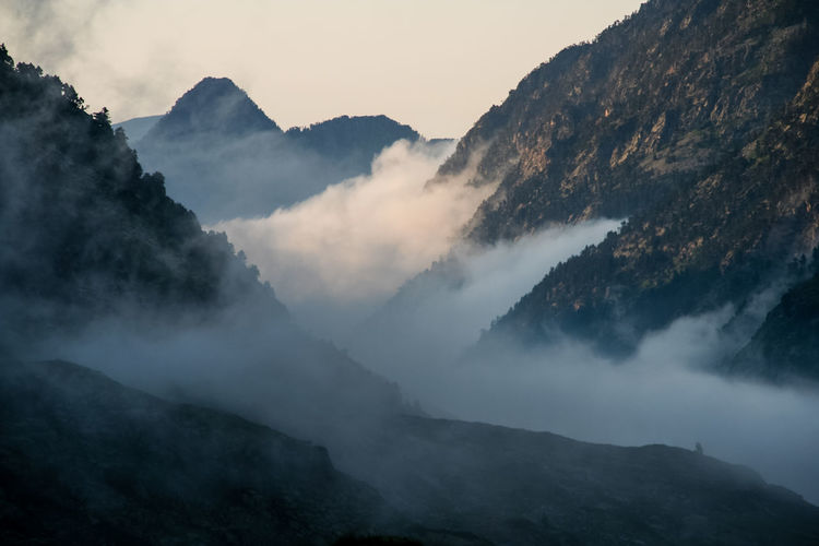 Scenic view of pyrenees during foggy weather