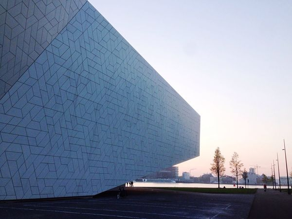 Architecture Built Structure Building Exterior Clear Sky Outdoors Modern No People Day Sky City Urban Urban Geometry Urbanphotography Modern Architecture Sunset Amsterdam Eyemuseum Eye Shape
