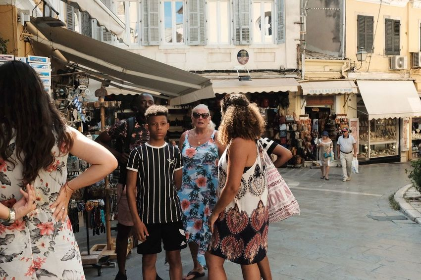 EyeEm Gallery Eye4photography  EyeEm Selects Sun Sunlight People Watching People Summer Greece Holiday Vacation Streetphotography Street Urban Urbanphotography Hot Day Exploring City Friendship Smiling Happiness Togetherness Standing Street Scene