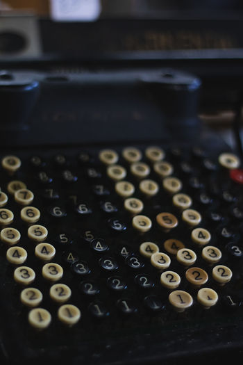 Vintage stores and old furniture Vintage Store Vintage Typewriter Technology Retro Styled Letter Indoors  Communication Text Alphabet Number Machinery Close-up No People Old Antique High Angle View Still Life Focus On Foreground Correspondence Western Script Push Button Keypad
