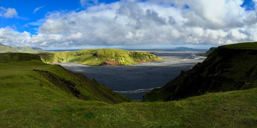 Great view on our way to the camping ground Thakgil Panorama EyeEm Nature Lover Iceland Travel Destinations Tourism Beauty In Nature Water Cloud - Sky Sky Scenics - Nature Land Sea Tranquil Scene Tranquility Nature Day Green Color No People Idyllic Non-urban Scene Growth Outdoors