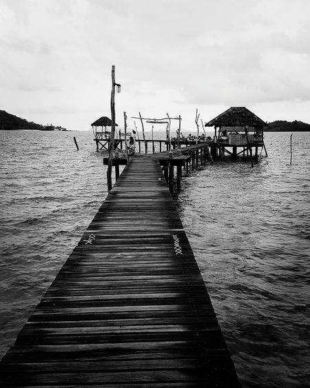 #sea #travel #blackandwhite #Island #journey #bridge #Wood #summer #beach #water #bar #Thailand #kohmak Water Sea Full Length Beach Jetty Pier Sky Horizon Over Water Cloud - Sky Fishing