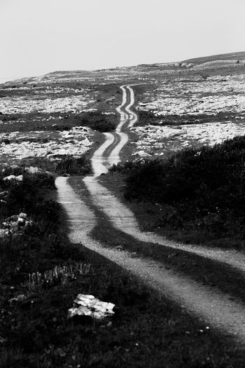 a endless farmer road leading out into the distance Black And White Day Landscape Nature No People Outdoors Rocky Rocky Hills Scenics Winding Road
