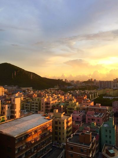 Sunset Town High Angle View Shenzhen.China Sunshine Colorful Houses Building Buildings Buildings & Sky 43 Golden Moments