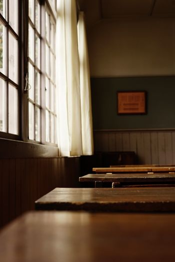 Empty benches in classroom