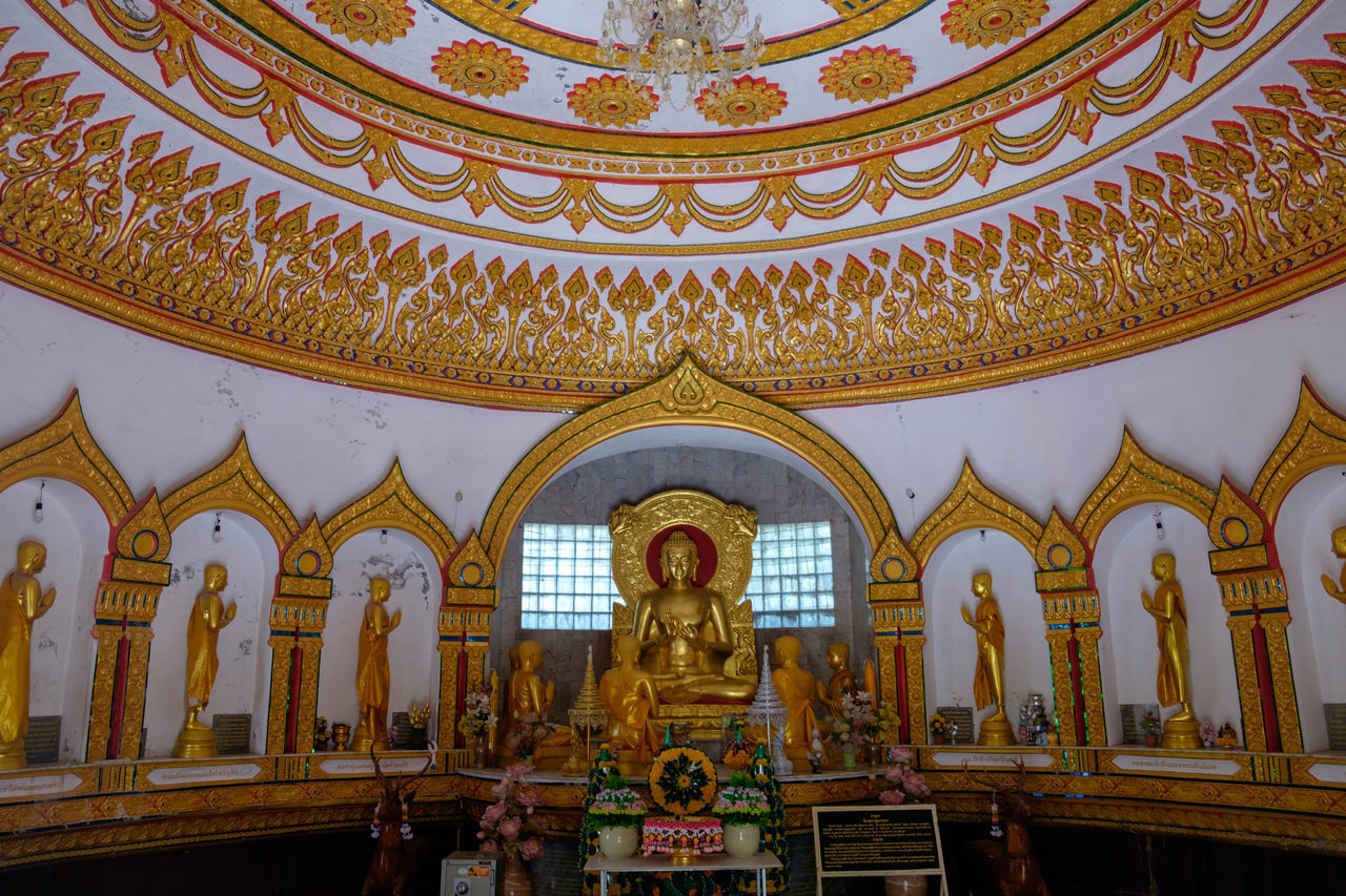 belief, spirituality, place of worship, religion, architecture, building, art and craft, built structure, representation, human representation, sculpture, indoors, creativity, statue, no people, male likeness, craft, ceiling, ornate, mural, altar, architecture and art