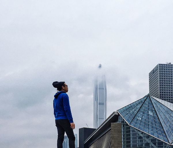 IPhoneography Standing One Person Real People Cloud - Sky Lifestyles Sky Outdoors Leisure Activity Full Length Low Angle View Day Men Nature Architecture Young Adult Shenzhen