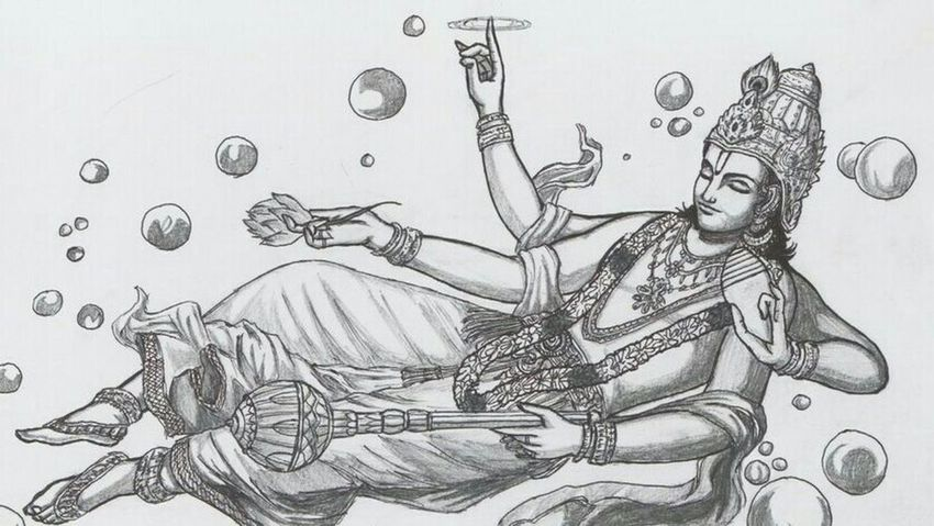 Vishnu India ArtWork Drawing