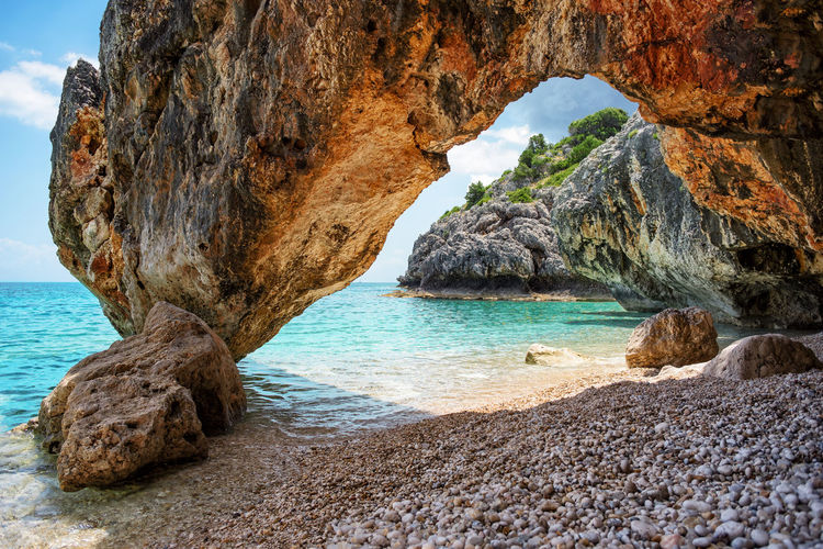 Scenics - Nature Beach Beauty In Nature Rock Formation Water Nature No People Sea Ocean Coast Summer Greece Outdoors Landscape Travel Turquoise Rock Scenics Shore Bay Lagoon Kefalonia Amazing Vacations Paradise