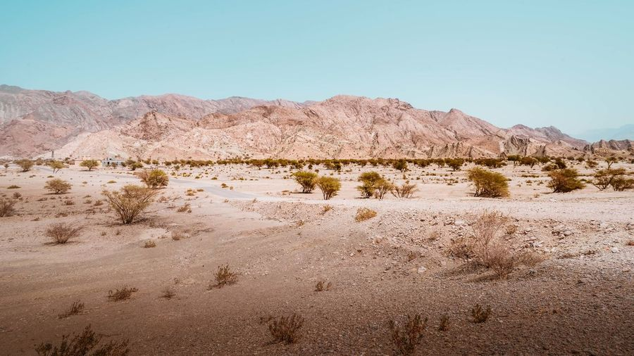 Oman Chapters Sky Land Environment Landscape Tranquil Scene Clear Sky Tranquility Scenics - Nature Mountain Nature Beauty In Nature Desert Day No People Non-urban Scene Sand Climate Arid Climate Plant Copy Space Semi-arid