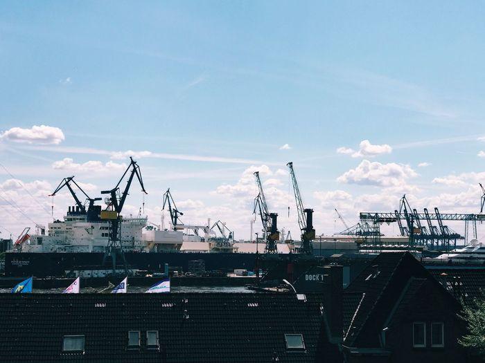 Shipyard against sky