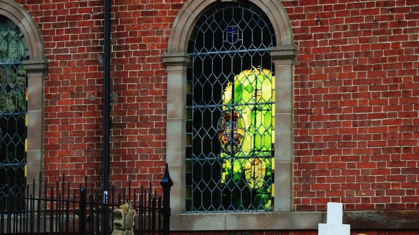 St Catherine Seethrough Stained Glass Window Windows Church Architecture Brick Wall Brick Wall Architecture Built Structure Building Exterior Window No People Building Wall - Building Feature Red