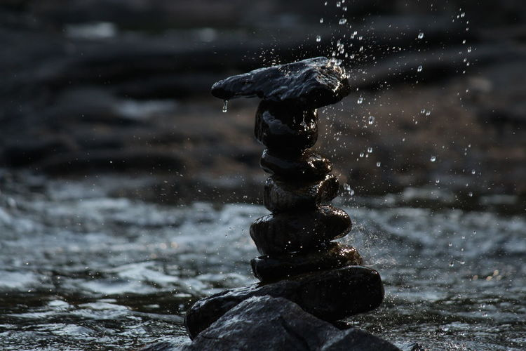 Close-up of water falling on rocks