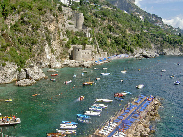 Beach Life Built Structure Coastline Conca Dei Marini Costiera Amalfitana Elevated View Feel The Journey Fishing Boat Mountain Nature Rock Formation Tourism Town TOWNSCAPE Travel Destinations Vacations