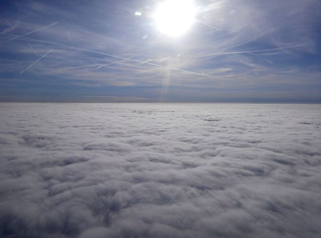 Hello World ,from aeroplane window, a sea of cloud