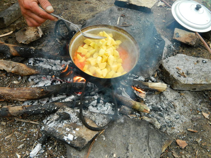 Cropped image of person cooking food on bonfire