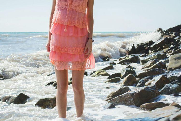 Черное море Анапа Sea Blacksea Stones & Water Legs Girl Dress