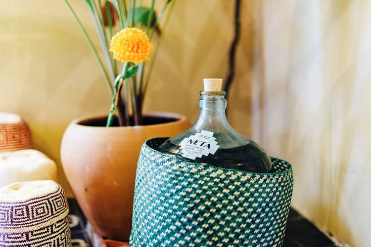 Liquor Mezcal EyeEm Selects Container Indoors  Still Life Bottle No People Flowering Plant