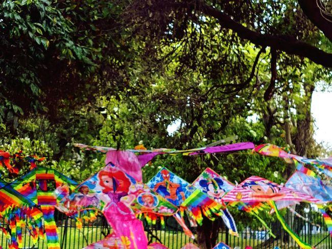 cometas, cerf-volant. Tree Multi Colored Hanging Celebration
