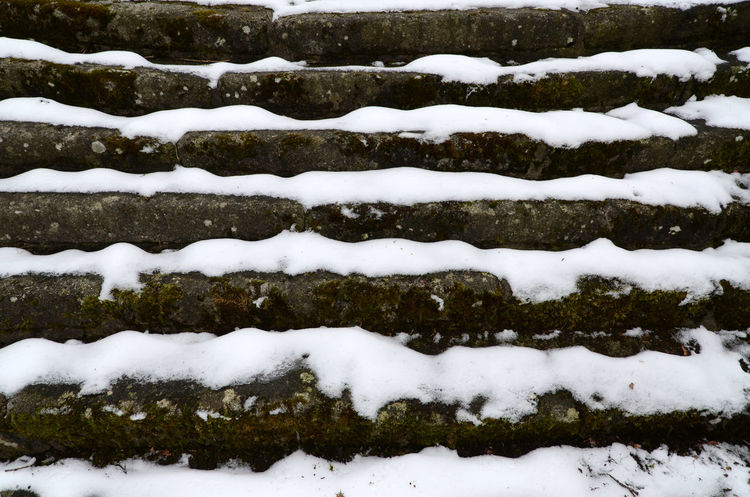 Steps Stripes Cold Temperature Light And Dark Outdoors Snow Tread Carefully Winter