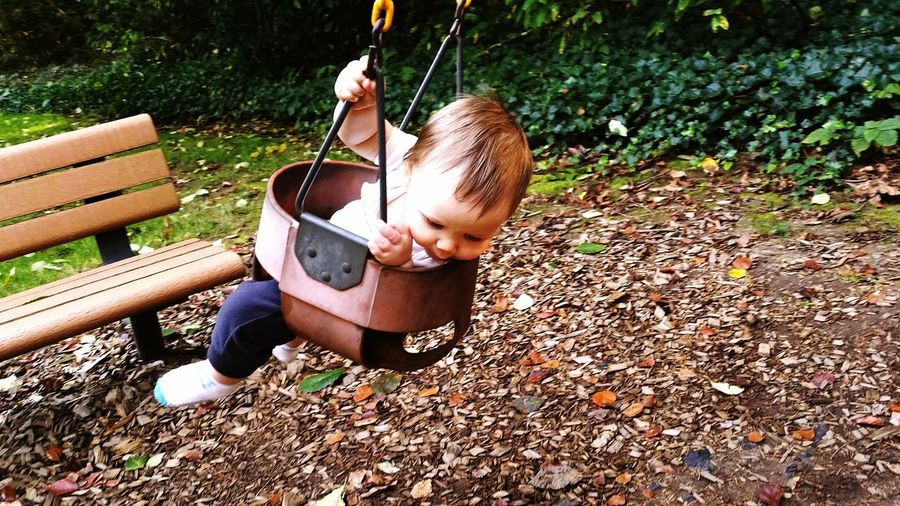 High Angle View Of Toddler Boy Riding Swing At Park