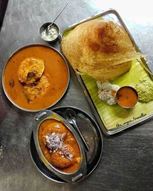 Breakfast of South India.! Dosa Idly Idly N Sambar Chutneys Mouth Watering Baking Pan Bowl Directly Above Table Close-up Food And Drink First Eyeem Photo