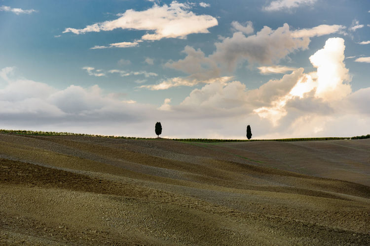 Scenic View Of Landscape Against Cloudy Sky At San Quirico D Orcia