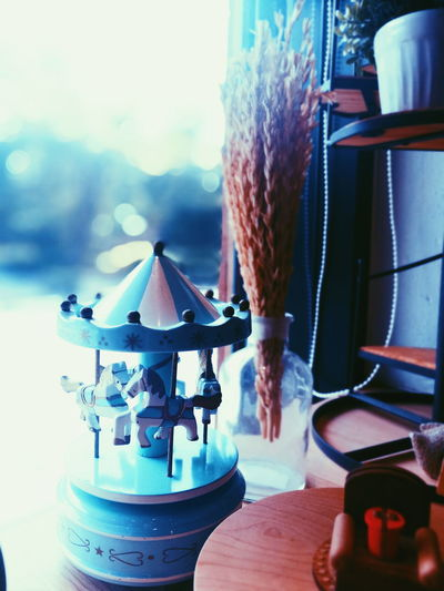 Indoors  No People Day Toy Carousel Horse Carousel Music Box Cool Blue Close-up Sky First Eyeem Photo Decoration Decorated Tiny Toys Nature