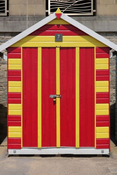Architecture Built Structure Building Exterior Multi Colored Closed Red No People Building Day Beach Hut Safety Yellow Door Entrance Security Wood - Material City Protection Outdoors Pattern