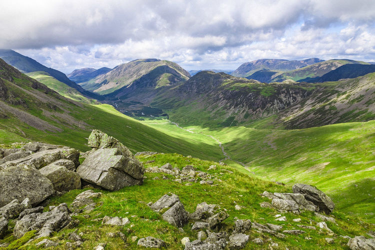 Ennerdale Ennerdale Valley Mountain View Landscape Lake District National Park Mountain Beauty In Nature Nature Mountain Range Scenics Tranquility Outdoors Tranquil Scene Landscape Day Grass No People Cloud - Sky Sky