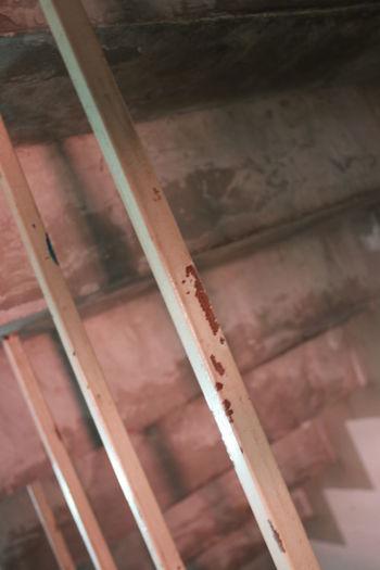 High angle view of metal railing