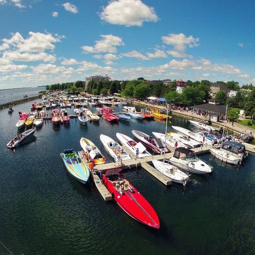 Last weekend, Prescottontario hosted a Pokerrun . Here's how Sandraslawnharbour looked with 60 Noisy boats parked for lunch. I can't fathom the power below deck in these boats, or the fuel bills. Photo from the masthead. gopro igersottawa sailing.