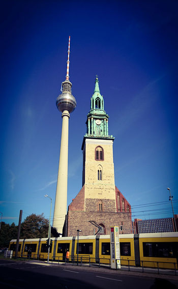 Berlin Architecture Marienkirche And The TV-tower In East Berlin Marienkirche Marienkirche Berlin-mitte Fernsehturm Berlin  Fernsehturm U-BAHN Ubahn Berlin
