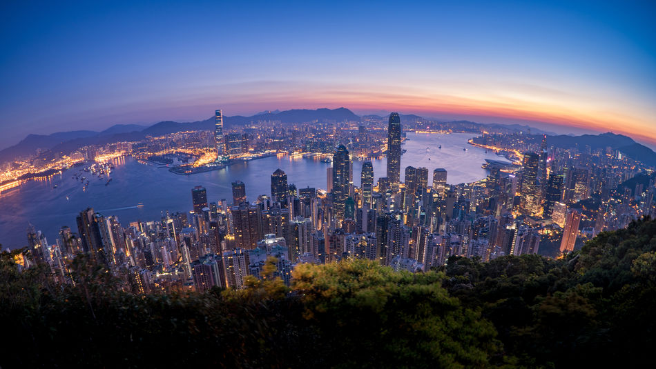 Before Sunrise in Hong Kong ASIA Asian  HongKong Travel Architecture Building Exterior Built Structure Chinese City Cityscape Growth High Angle View Hongkongphotography Illuminated Modern Mountain Nature Night No People Outdoors Sky Skyscraper Travel Destinations Tree Urban Skyline