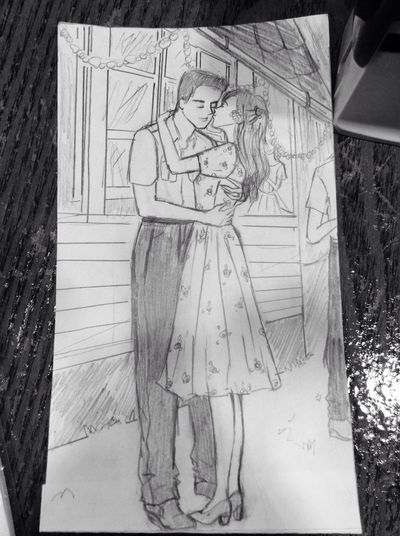 got a lot of free time at work and did this 😅 at first i drew the faces but i ended up drawing everything 😎 these two are a couple in my story from 1946 where she doesnt dance but learn to so that she could dance with her husband at his birthday 💚 Drawing My Creation Art Love Couple Newly Weds Happiness Kiss 1940s Classic