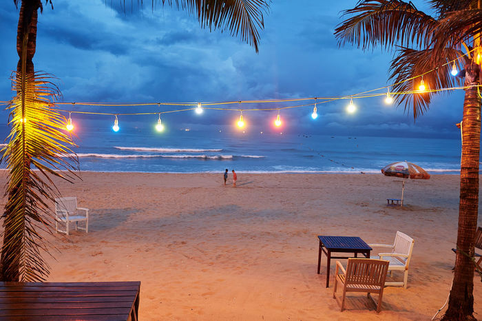 Colors EyeEmNewHere Lightbulbs Lights Palm Tree Stormy Weather Beach Beachlife Clouds And Sky Coloured Lights Danangbeach Sand