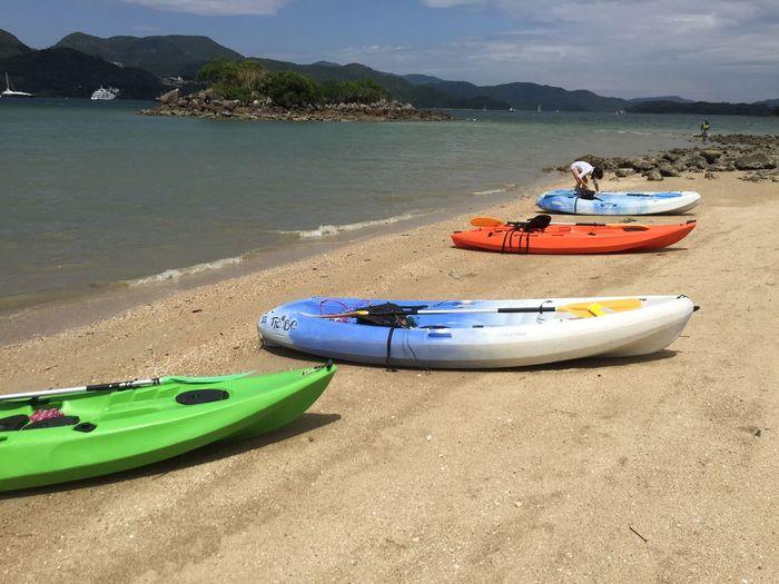 Kayak Adventure 沙灘 獨木舟 西貢 Sai Kung Kayak Beach Water Nautical Vessel Transportation Sand Moored Mode Of Transportation Outdoors Sea Sunlight