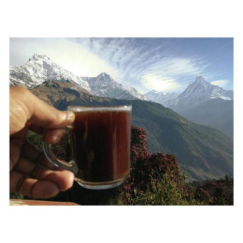 Morning coffee from Annapurna - Nepal Himalaya Coffee Annapurna Annapurnabasecamp Tadapani Nepal Trekking Adventure ASIA Mountain