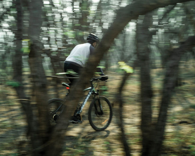 Blurred motion of man riding bicycle in forest