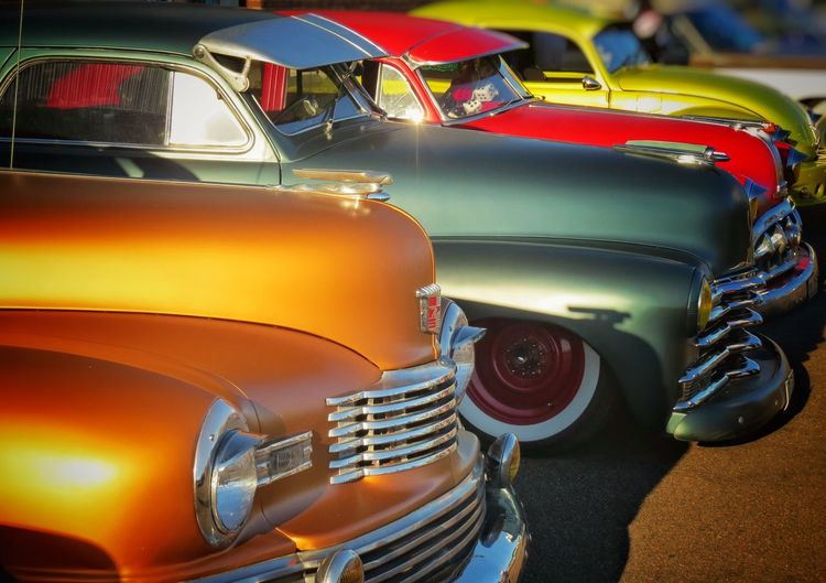 Mode Of Transportation Motor Vehicle Retro Styled Vintage Car In A Row Chrome Close-up No People HotRod