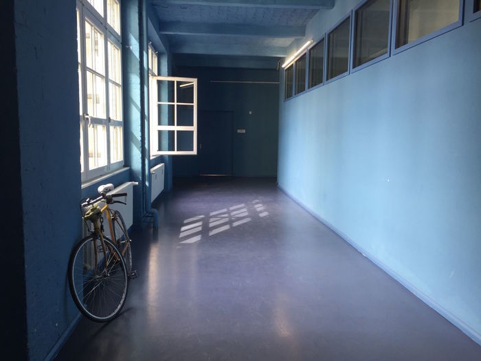 Architecture Bicycle Blue Built Structure Corridor Empty Flooring Hallway Indoors  Narrow No People Surface Level The Way Forward Window