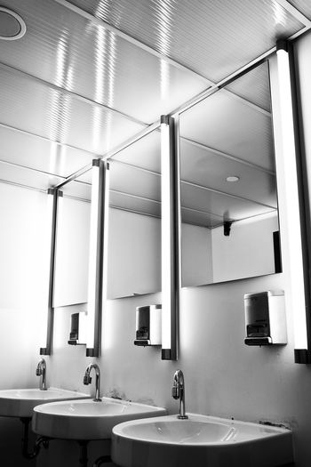 Interior of public restroom
