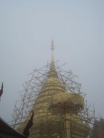 Buddhist Temple Chiang Mai Clouds And Sky Construction Doi Suthep Foggy Golden Golden Umbrella Gray Sky Pagoda Sky Temple On Top Of Mountain Thailand