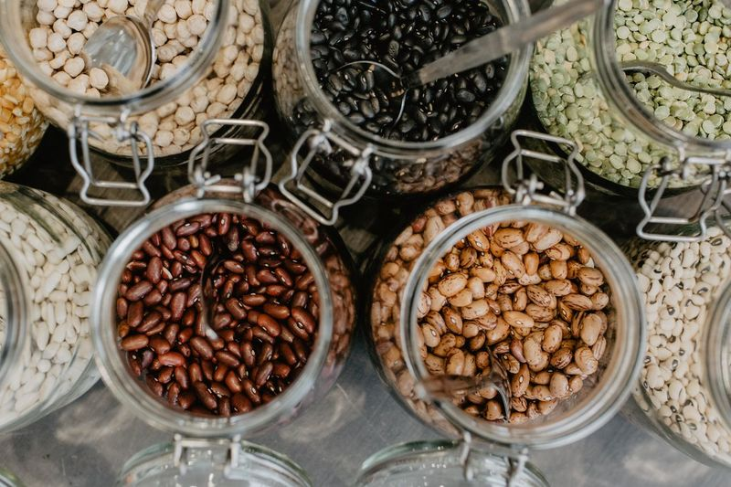Food And Drink Freshness Food High Angle View Container Abundance Still Life Large Group Of Objects No People Indoors  Choice Variation Close-up Table Jar Bowl Brown Beans Bohnen Dried Beans Getrocknete Bohnen Mixed Beans Top View Bird Perspective